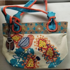 Fossil hathaway canvas bird embroidered tote